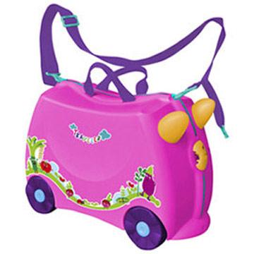 兒童可乘式遊戲車行李箱-桃紅