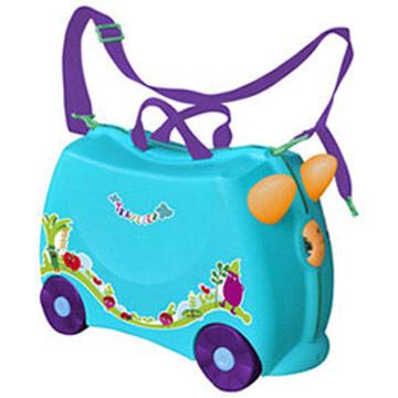 兒童可乘式遊戲車行李箱-藍色