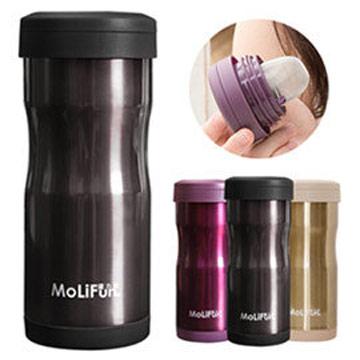 MoliFun魔力坊 不鏽鋼雙層高真空附專利濾網保溫杯瓶350ml-尊爵灰(MF0350N)