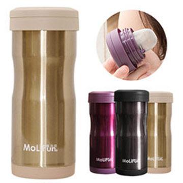 MoliFun魔力坊 不鏽鋼雙層高真空附專利濾網保溫杯瓶350ml-香檳金(MF0350G)