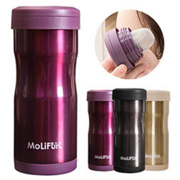 MoliFun魔力坊 不鏽鋼雙層高真空附專利濾網保溫杯瓶350ml-典雅紫(MF0350V)