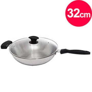 清水 鋼鋼好原味炒鍋玻璃蓋32cm(單把)
