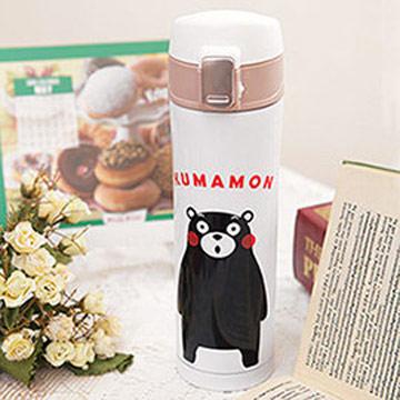 Kumamon酷MA萌 不鏽鋼彈蓋真空保溫瓶420ml-白色