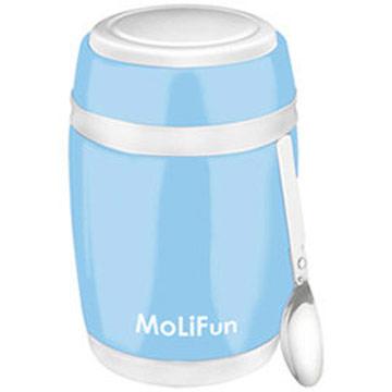 MoliFun魔力坊 不鏽鋼真空保鮮保溫燜燒食物罐480ml-天晴藍