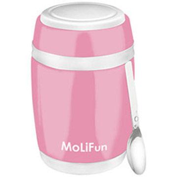 MoliFun魔力坊 不鏽鋼真空保鮮保溫燜燒食物罐480ml-櫻花粉