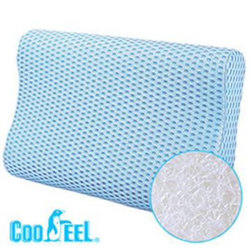 CooFeel 高效透氣可水洗3D纖維立體彈力枕(小)-藍色