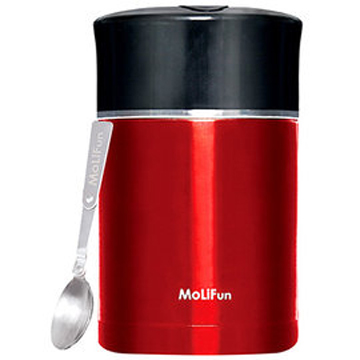 MoliFun魔力坊 不鏽鋼真空專利附內碗保鮮保溫悶燒罐/便當盒1800ml-貴族紅