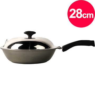 清水 奈米鈦瓷釉鑄造小炒鍋28cm