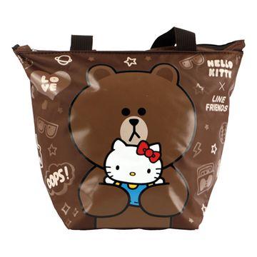 Hello Kitty+LINE熊大餃型手提袋/便當袋