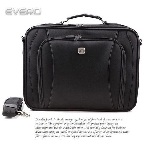 【EVERO】都會時尚黑15吋電腦包/公事包/側背包