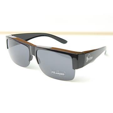 【Pro-Fisher 漁達人】一級光學抗UV400防眩光寶麗來偏光太陽套鏡-PF168B-紳士黑