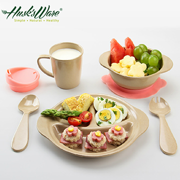 美國Husk's ware稻殼天然無毒環保兒童餐具組微笑款