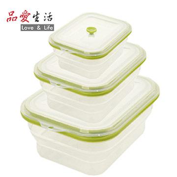 【品愛生活】矽膠摺疊保鮮盒三件組(長1500ml+長800ml+長600ml)