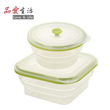 【品愛生活】矽膠摺疊保鮮盒兩件組(正1000ml+圓800ml)
