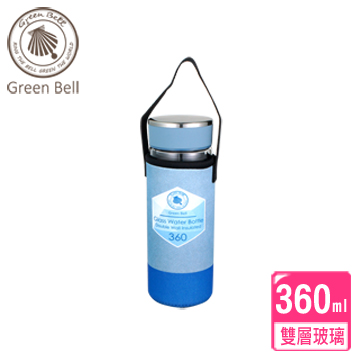 【GREEN BELL綠貝】360ml晶鑽雙層玻璃水瓶/檸檬杯(1入)-藍