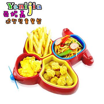【亞妮嘉兒童餐盤】超Q螺旋槳飛機餐盤 +太空梭湯叉