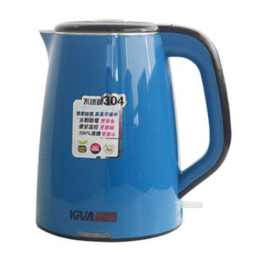 KRIA可利亞 全開口式雙層防燙304#不鏽鋼快煮壺 KR-395藍