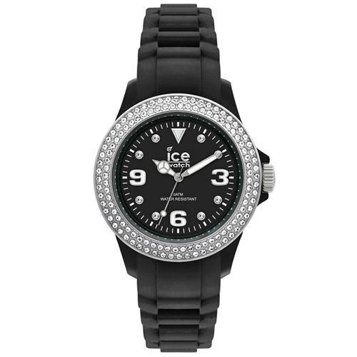 ICE-Watch STAR系列 星星矽膠晶鑽腕錶(黑x銀)48mm