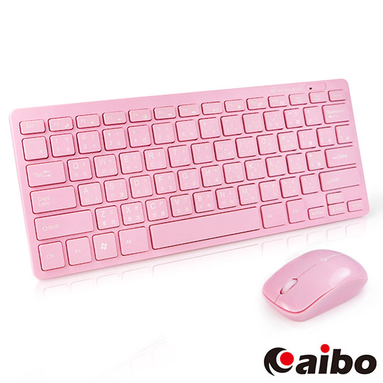 aibo 2.4G 無線時尚輕巧多媒體鍵盤滑鼠組-粉紅色
