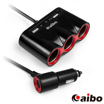 aibo AB441 升級版 車用USB帶線點煙器擴充座(雙USB+三點煙器)