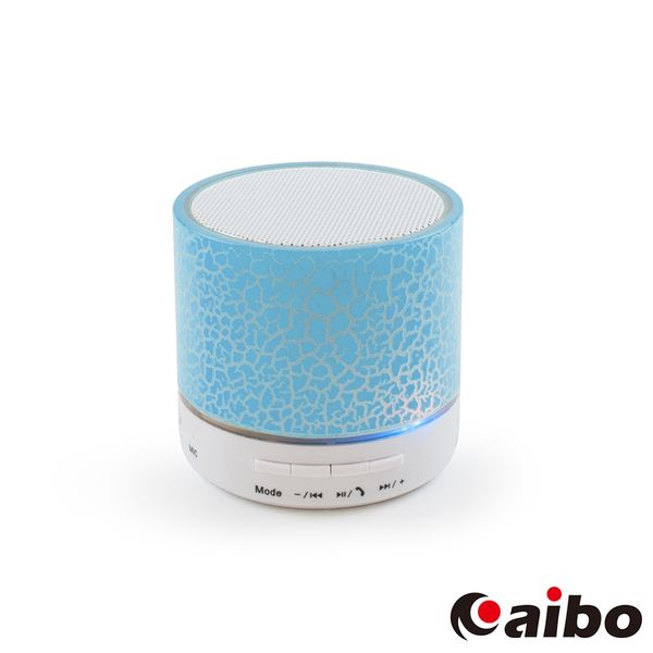 aibo iColor 背光裂紋 立體聲迷你藍牙喇叭(可插卡/隨身碟)-藍色