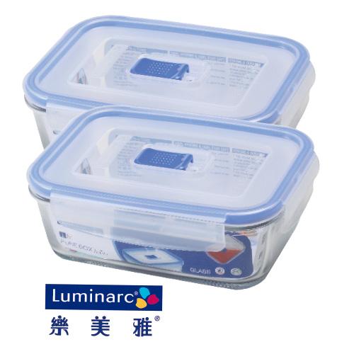Luminarc樂美雅強化玻璃微波保鮮盒820ml共2入