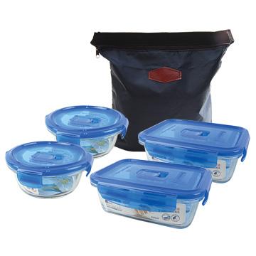 法國Luminarc樂美雅強化玻璃微波保鮮盒提袋5件組