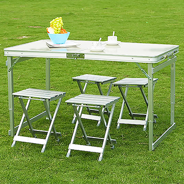 Conalife 戶外露營鋁合金桌椅組-1桌4椅