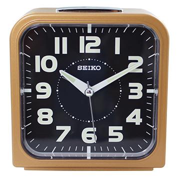 【日本精工-SEIKO】QHK025方型夜光靜音貪睡鬧鐘-咖啡色