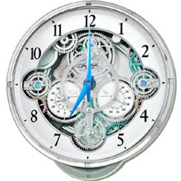 RHYTHM 麗聲 4MH886 溫度濕度光控音樂報時水晶掛鐘 - 絢麗銀