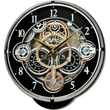 RHYTHM 麗聲 4MH886 溫度濕度光控音樂報時水晶掛鐘 - 奢華黑