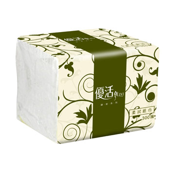 Livi優活柔拭紙巾(綠波系列) 300抽*30包共1箱