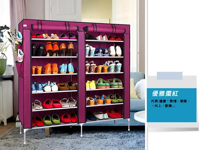 超大雙排加寬12格簡易防塵鞋櫃-棗紅