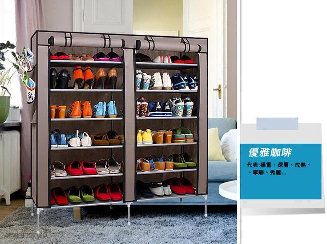 超大雙排加寬12格簡易防塵鞋櫃-咖啡