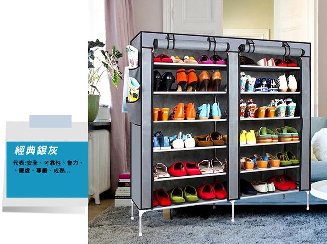超大雙排加寬12格簡易防塵鞋櫃-銀灰