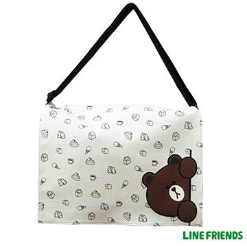 【LINE FRIENDS】休閒側背包(躲貓貓熊大 米)LI-5418