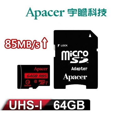 Apacer宇瞻 64GB MicroSDHC UHS-I Class10 記憶卡 (附轉卡)