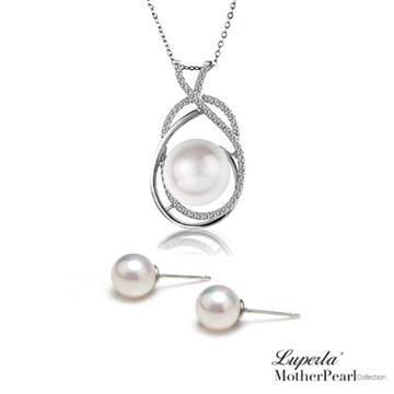大東山珠寶 南洋貝寶珠項鍊耳環璀璨套組 浪漫玫瑰