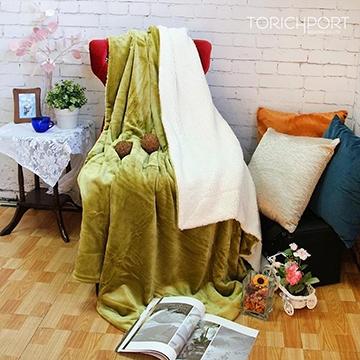 雪尼絨舒棉柔毯-芥末綠